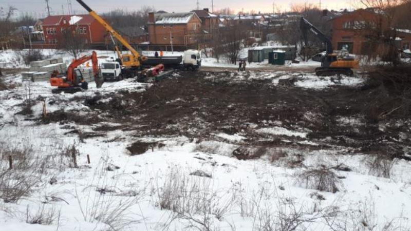 Обустройство стройгородка возле моста на Малиновского